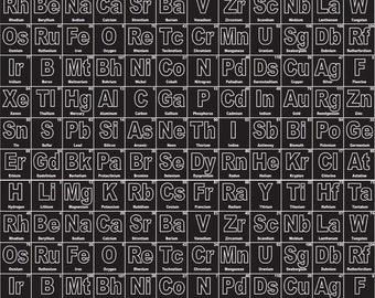 Periodic table etsy periodic table of elements on black from riley blake urtaz Image collections