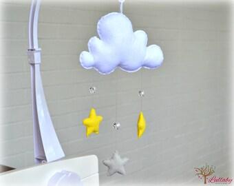 Star mobile - cloud mobile - white, silver grey, lemonade - baby mobile - nursery decor - MADE TO ORDER