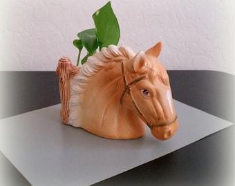 Vintage Horse Planter - JAPAN - Pottery Planter - Horse Lover Gift