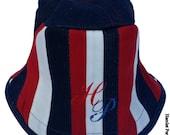 Red, White, Blue Denim Patchwork Bucket Hat | Stripe Hat | Denim Hat by Hamlet Pericles