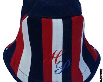 Red, White, Blue Denim Patchwork Bucket Hat   Stripe Hat   Denim Hat by Hamlet Pericles