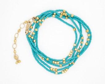 B6298 - turquoise wrap bracelet/necklace