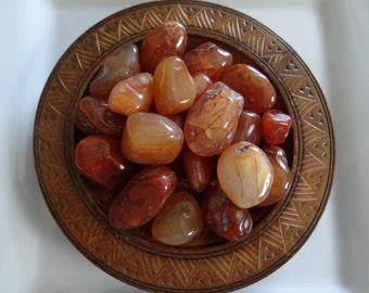 CARNELIAN Stone Gemstone Tumbled 4 oz Wiccan Pagan Metaphysical Reiki Chakra Supply