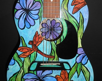 Custom Hand Painted Guitar, Acoustic Guitar, Musical Instruments, Hand Painted Musical Instruments, Painted Guitar, Guitars, Music,
