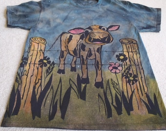 Calf checking out the flowers, discharging and printing with procion dyes, man's large shirt, brown, pink, yellow, blue, and green