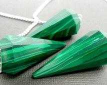 Malachite Point Pendant-- Malachite Point Pendulum Pendant with Silver Plated Bail and Chain (S27B11-02)