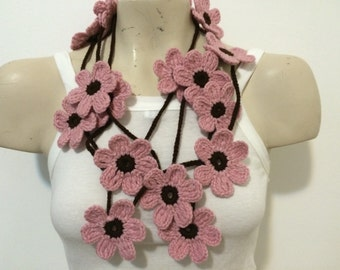 Pink And Brown Flower Scarf, Lariat