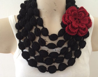 Black Bubble Scarf Necklace With Red Flower In Black, Bubble Scarf Necklace