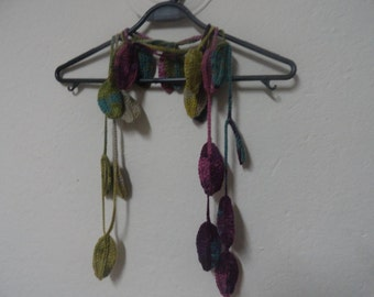 Crochet Scarf Lariat, Crochet Leaves Scarf