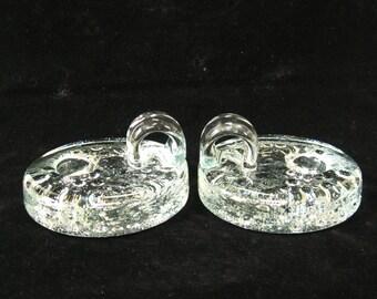 2 Svend Jensen Denmark Glass Chambersticks Candle Holders - Danish Modern Ultima Thule Style