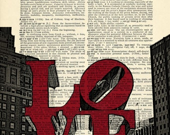 Philly Love Philadelphia Printed on Upcycled Vintage Dictionary Paper - 7.75x11