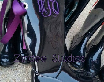 Ladies Monogram Rubber Boots, rain boots with bow or without, monogram rain boots with bow or without