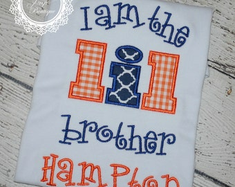 Lil Bro Applique Shirt - I am the little brother - Embroidery Design - Birth Announcement - Applique Shirt - Little Brother - Sibling