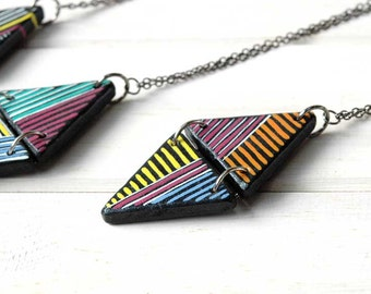 Long Triangle Necklace Colorful Geometric Necklace Color block