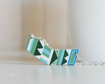 Hand painted chevron necklace,geometric necklace,wood necklace