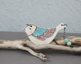 Bird necklace with amazonite gemstones ,animal necklace,woodland jewelry