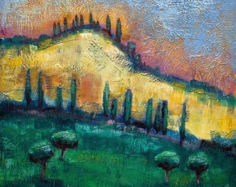 Tuscan Hills I Large Encaustic Wax Landscape Painting 36x36""