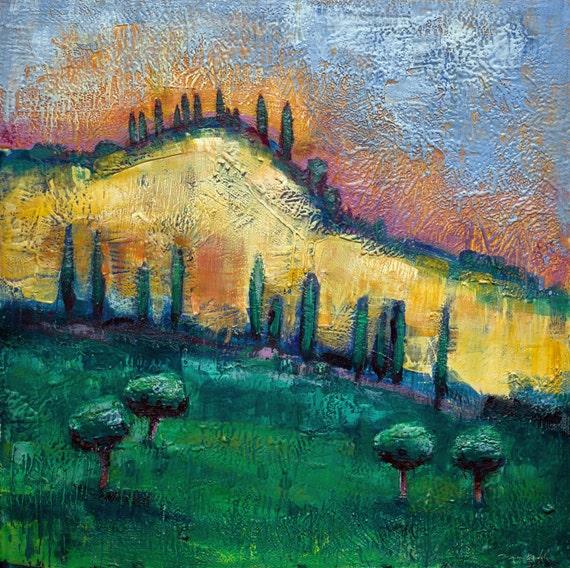 Tuscan hills i large encaustic wax landscape painting for Wax landscape