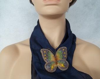 Butterfly brooch. Beaded butterfly brooch. Beaded insect brooch. Bead embroidery butterfly brooch.