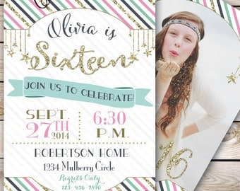 Sweet Sixteen Invitation Sweet 16 Invitation Girl Birthday Gold Party Birthday Party Birthday Invitation 5x7 Printable Sweet 16 Party