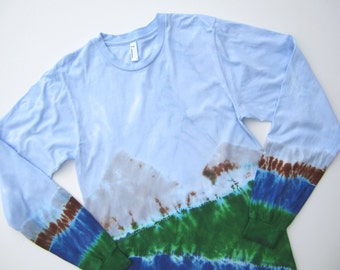 Mountain Scene Tie-dye T-shirt with Long Sleeves for Men and Women