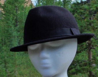 Vintage Black Fedora Hat Felted Wool Fedora Hat Gangster Hat Pimp Hat