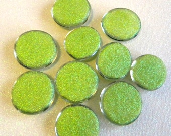 10 LARGE Flat Glass Lime Green GLITTER Gems - Half Marbles/Glass Nuggets - Mosaics/Wedding/Floral/Candle Display