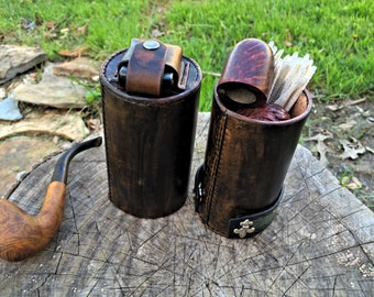 PipeTube leather pipe case with matching pipe stand Handmade in the U.S.A.