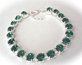 Emerald crystal bracelet - Tennis bracelet - May Birthstone - Irish - Bridal jewelry - Emerald green crystals - Bridesmaids - Gift