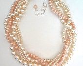 Chunky Pearl necklace ~ Swarovski pearls ~ Blush crystals ~ Brides necklace ~ 5 strands ~ Twisted pearl necklace ~ Wedding necklace