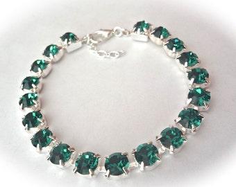 Emerald crystal bracelet - Tennis bracelet - May Birthstone - Irish - Bridal jewelry - Emerald green crystals - Bridesmaids - Gift