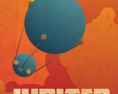 Jupiter Retro Planetary Travel Poster