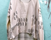 Khadi (Handspun) Desi block printed (vegetable dyes) long sleeve top. Eco Light natural materials.