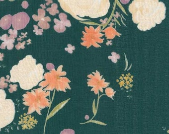 Nani Iro double gauze fabric, Fuccra Rakuen Quingming, deep green, by the yard