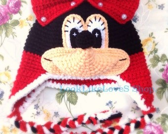 Red Minnie Mouse Crochet hat for 2-6 years.