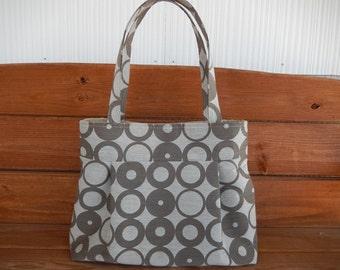Handbag Purse Fabric Handbag Accessories Women Handbag Large Pleated Bag Shoulder Bag in Lt. Gray, Taupe with Geometric Print