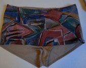 Beige geometric mid waist height bikini bottoms
