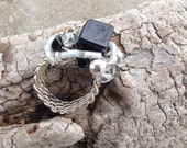 Sterling Silver Weave ring with black onyx