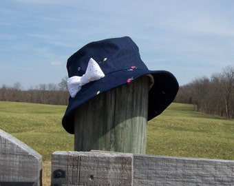 Denim Bucket Style Hat for Women, Chemotherapy Hat, Satin Lined, Lace Bow Accent, Donation Made to Cancer Society