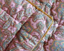 Antique French hand quilted quilt boutis Paisley fabric bedspread comforter wool filled throw coverlet bed spread, country cottage France