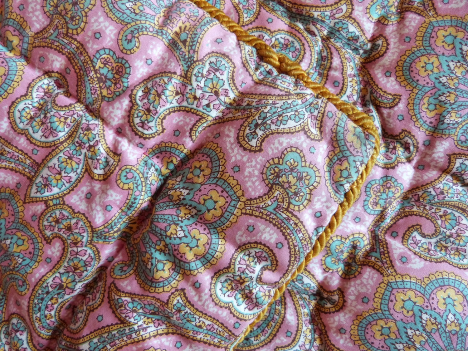 Antique French Hand Quilted Quilt Boutis Paisley Fabric