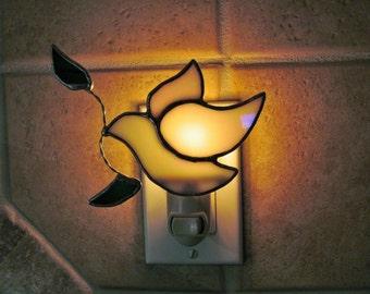 Peace Dove Night Light - Iridescent Opal Glass