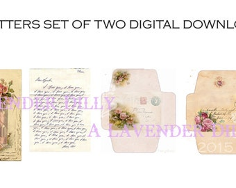 PDF - Distressed/Vintage Set of Love Letters for Dollhouse Miniature DIGITAL DOWNLOAD