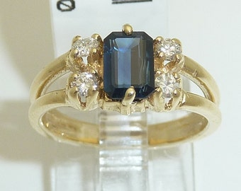 Vintage Diamond and Sapphire Ring Promise Ring 14K Yellow Gold Size 3.5