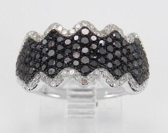 Black and White Diamond Wedding Ring Anniversary Band White Gold Size 6.75