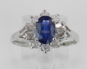 Diamond and Oval Blue Sapphire Ring Halo Statement Ring 14K White Gold Size 7