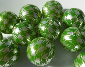 20mm, 10CT, Pearl White and Green Houndstooth Print Gumball Beads, 20mm Bubblegum beads, C61