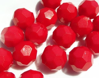 20mm, 10CT, Chunky Faceted Vibrant Red Beads, E2