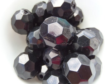 20mm, 10CT, Chunky Faceted Jet Black Beads, 20mm Chunky Black Bubblegum beads, Chunky Beads, E20
