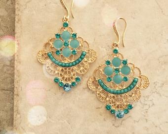 Chandelier Statement Earrings Turquoise Statement Drop Earrings Dangle Earrings Bridesmaid Gift Jewelry Limonbijoux